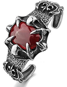 MunkiMix Edelstahl Armband Armreifen Manschette CZ Zirkon Zirkonia Rot Silber Ton Drachen Klaue Ritter Fleur De...
