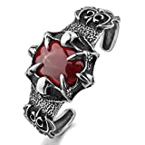 MunkiMix Stainless Steel Bracelet Bangle Cuff CZ Red Silver Tone Dragon Claw Knight Fleur De Lis Men
