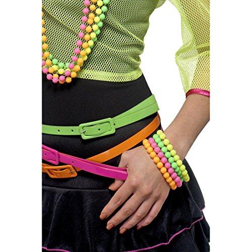 Vier Neon Armreife gelb grün pink und orange Perlen Armbänder 80er Jahre Armketten Fluoreszierender Armschmuck Neonarmband Accessoires
