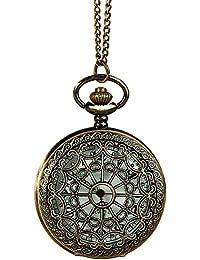Longra Bolsillo de cobre amarillo del estilo del reloj de excursión que acampa de navegación brújula