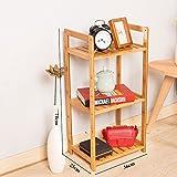 Home & Style Bambusregal 3 Tiers Badezimmer Platzsparendes Wandregal, Küchenablage, Verwendung im Bad, Wohnzimmer, Küche, Garage