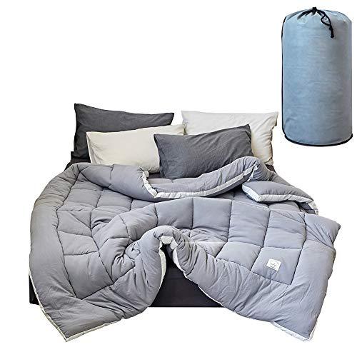 BAIVIN Feather Cotton-Steppdecke Four Seasons Hypoallergene Warme Daunendecke mit Großem Kern, Flauschiger Baumwollbezug, Grau,150x200cm