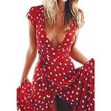OYSOHE Damen Vintage Kleid, Neueste Frauen Sommer Boho Lange Abendgesellschaft Cocktailkleid Strandkleid Sommerkleid (S, Rot)