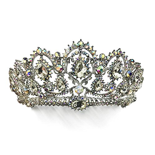 Diadem Hochzeit, Luxus Prinzessin Diadem Strass Prinzessin Tiara Krone Haar-Accessoires Stirnband Barock Sweet Stil Kopfschmuck Brautjungfer Haar Band für Hochzeitsfest Sbarden (Silber)