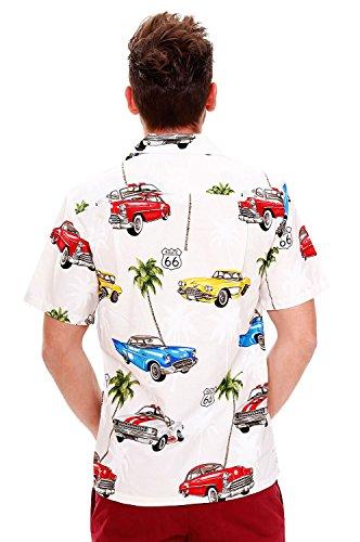 Pacific Legend   Original Hawaiihemd   Herren   S - 4XL   Kurzarm   Front-Tasche   Hawaii-Print   Route 66 Auto Palmen   Weiß Weiß