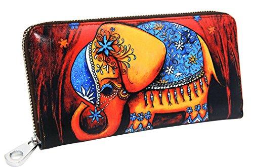 DCCN Damen Zip Around Geldbörse Leder Lang Portemonnaie Brieftasche (Geldbörse Zip Leder)