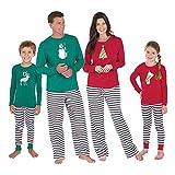 Hzjundasi Famiglia Pigiama di Natale - Uomini Donne Ragazzo Ragazza bambini bebè Xmas PJs biancheria da notte Nightwear Manica lunga Camicetta e striscia Long Pantaloni