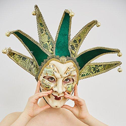yufeng Vintage Jolly Joker venezianischen Masquerade Maske Kostüm Halloween Cosplay Maske für Party, Ball Ball, Mardi Gras, Hochzeit, Wandschmuck grün (Masquerade Halloween-kostüm Joker)