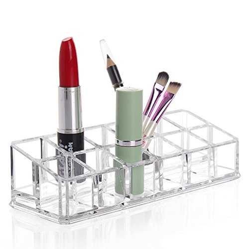 FOK Multi Grid Acrylic Makeup Organiser Transparent Plastic Makeup Cosmetic Storage Box Lipstick Nail Paint/Polish Holder Display Stand Organizer