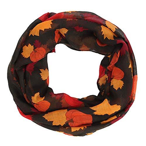 TianWlio Schals Frauen Weihnachten Mode Frauen Kürbis Ahorn Lange Weiche Wrap Schal Thanksgiving Dekoration