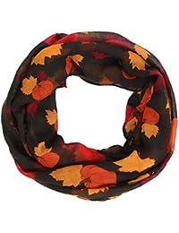 Lenfesh Mujer Pañuelo Bufanda cuello mujer Bufanda con estampado de arce y calabaza de otoño Fular Mujer
