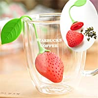 Healty (silicona), diseño de fresa para bolsas de té Infusers Tea Leaf Colador Filtros de Candy rojo