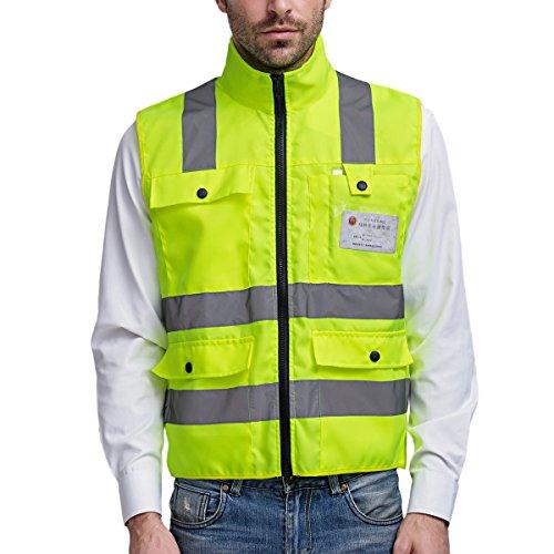 Preisvergleich Produktbild Panegy Stehkragen Warnweste Reflektierende Weste mit Taschen - Neon Gelb Größe M