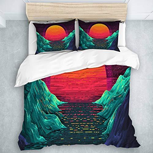 TARTINY Bedding Bedrucktes Bettbezug-Sets Retrowave Sunset Orange Mikrofaser Kinder Student Schlafsaal Bettwäsche Set