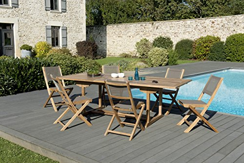 MACABANE 509603 Salon de Jardin Couleur Naturel/Taupe en Teck et Textilène Dimension