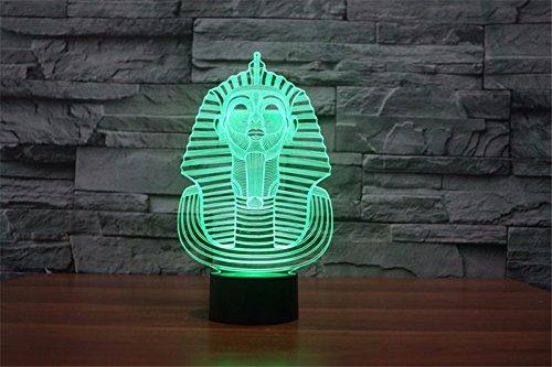3d Illusion Egipto esfinge Faraon Lámpara luces de la noche ajustable 7 colores LED 3d Creative Interruptor táctil estéreo visual atmósfera mesa regalo para Navidad 6