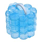 #2: Zollyss 3 Layers Clear Plastic Bead Storage Containers Total of 14 Compartments Flower Shaped Containers for Jewelry 165x145x125mm