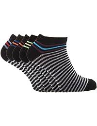 Soho Collection - Calcetines tobilleros con diseño a rayas para hombre (paquete de 5)