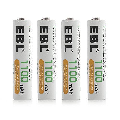 EBL 4 Stück 1100mah Wiederaufladbare Akkus Akku AAA NI-MH Akku mit Aufbewahrungsbox