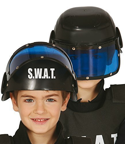 (Fancy Me Jungen Mädchen Polizei SWAT Helm Hut mit Sonnenblende Uniform Kostüm Kleid Outfit Zubehör)