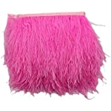 Imported Ostrich Feather Dyed Fringe 1 Yard Trim Deep Pink