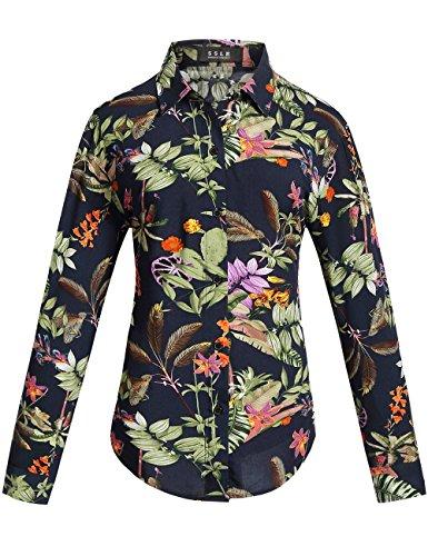 SSLR-Blusa-Camisa-Mujer-Manga-Larga-Casual-Vintage-Retro-Flores-Estampado-Large-Navy