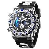 Sport Montre numérique Montre Bracelet LED Résistant à l'eau Militaire Chronomètre Alarme Date Ecran Rétro-éclairage SIBOSUN Double Zone