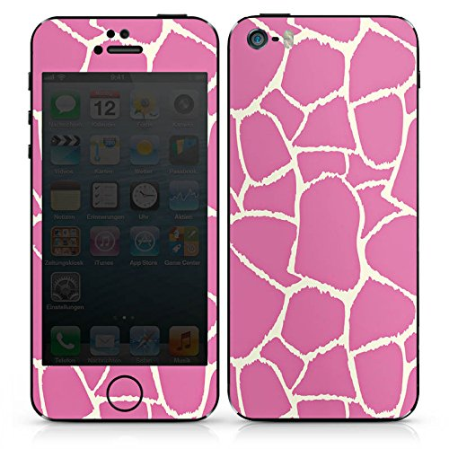 Apple iPhone SE Case Skin Sticker aus Vinyl-Folie Aufkleber Giraffe Pink Animal Print DesignSkins® glänzend