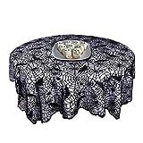 Crown Halloween Nappe Ronde, Chauve-Souris Spooky Noire Spiderweb Dentelle Couverture de Table en Dentelle Ronde pour Halloween, dîners et Nuits de cinéma Effrayant