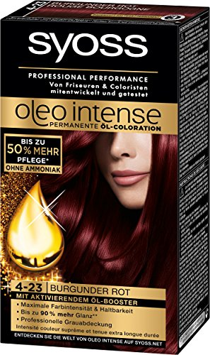Syoss Oleo Intense Coloration, 4-23 Burgunder Rot, 3er Pack (3 x 115 ml) -