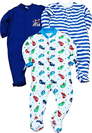 Gopuja New Born Baby Multi-Color Long Sleeve Cotton Sleep Suit Romper for Boys and Girls Pack of 3 Rompers (Dark Blue, 0-3 Months)