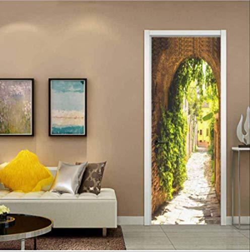 YSP-616 3D Arch Tür Aufkleber Wohnkultur Schöne Landschaft Selbstklebende wasserdichte Tapete Für Schlafzimmer Wohnzimmer Wandtattoo Decals 77 * 200 cm (Arch Tür)