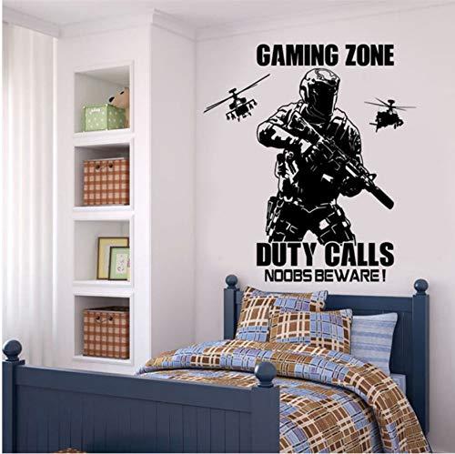 Wandaufkleber Gaming Boys Zimmer Aufkleber Gaming Zone Call of Duty Stil mit Hubschrauber Schlafzimmer Wandaufkleber Spielzimmer Vinyl 57x60 cm