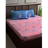 Story@Home Candy 120 TC Cotton Double Bedsheet and 2 Pillow Covers - Queen, Blue