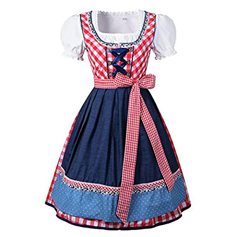 Canvalite 3pcs Women's Traditional Dirndl Set - Dress, Blouse, Apron for Oktoberfest Carnival Theme