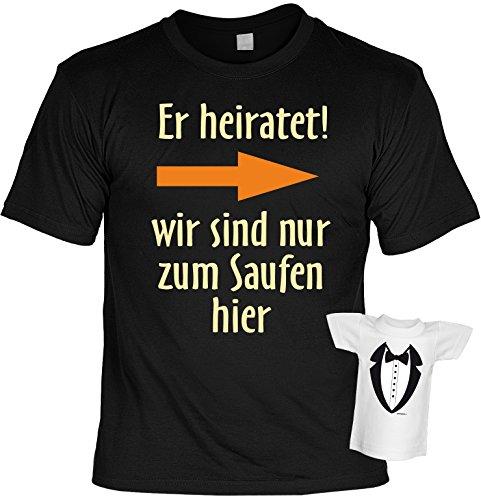 Shirt für den Jungesellenabschied Männer Herern Größen S- 5XL schwarz Lustiges Funshirt Er heiratet Pfeil nach links Schwarz