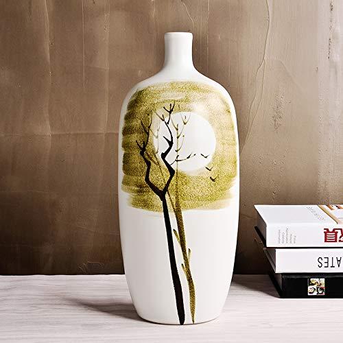 suxiaopei Jingdezhen Kreative Abstrakte Blumenschmuck Vase Keramik Neue Chinesische Wohnzimmer Weinschrank Xuanguan Boden bis zur Decke Hauptdekorationen C 9x34 cm -