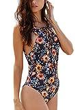 FITTOO Bikini Brasiliana Donna Costume da Bagno Intero Mare Sexy Push up Monokini V Profondo Piscina Vacanza