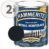 Hammerite Metall Schutzlack Hammerschlag-Effekt Rostschutz schwarz Sparpaket, 2 x 750ml