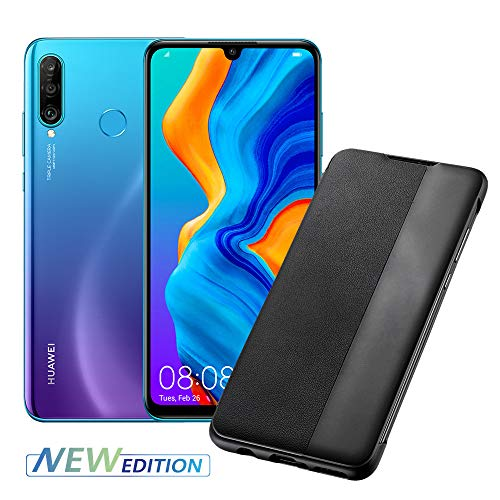 Huawei P30 Lite New Edition (Blue) Smartphone + Cover, Peacock Blue