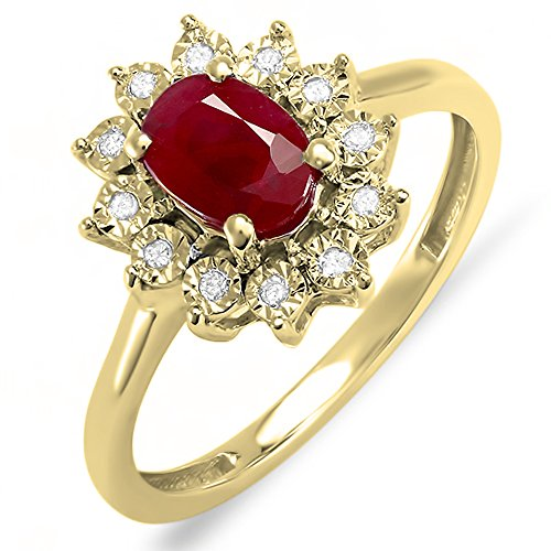 DazzlingRock Collection 18 carats Or jaune Ovale Rouge Diamant blanc Rubin