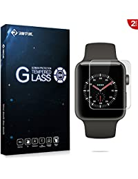 Riffue® Apple Watch 3 Protector de Pantalla, Apple Watch Series 3 Generación Cristal Vidrio Templado Glass Premium [9H Dureza] [3D Touch] [Alta Definicion] - Anti-Explosion / HD-display / Anti - agua y Anti-grasa / Anti-reflejo,[Alta Definición] 0.26mm Screen Protector Film para Apple Watch Series 3 42mm [2 Unidades] - Transparente