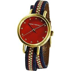 Tokyobay T233-RD Damen Edelstahl Obi Wrap Zwei Ton Nylon Band Red Dial Watch