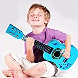FunkyBuys®, chitarra giocattolo per bambini, a 6 corde, colore blu, 58,4cm, (SI-TY1115)