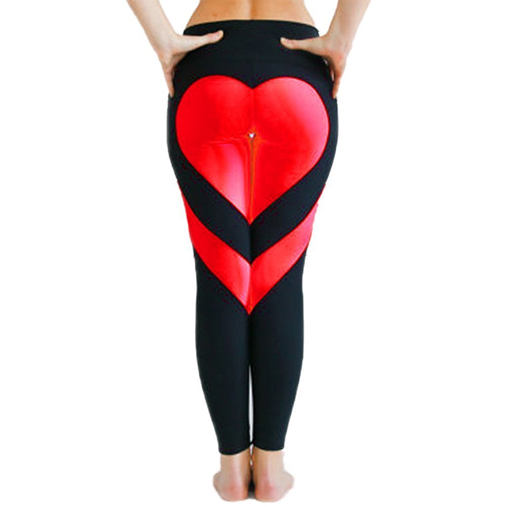 75c3399ae0737 Women's Heart-Shaped Fitness Leggings Yoga Pants Hot! Workout Ankle-Length  Stretch Sportwear Gym Running Tights