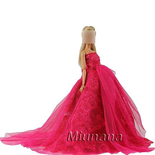 Preisvergleich Produktbild Hochzeitskleid Langer Spitze Zug Ballkleid Abendkleid Kleidung Kleider für Barbie Puppen