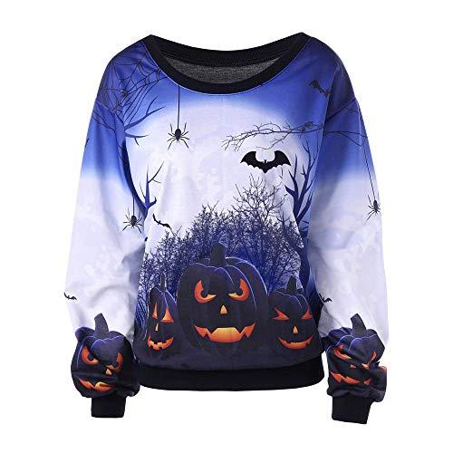 OverDose Damen 2018 Geist-Art-Frauen-Halloween-Lange Hülsen-Geist-Druck Clubbing-Bar-Partei-Sweatshirt-Pullover-Oberseiten-Bluse (Machen Hause Halloween-dekoration Cool Zu Zu)