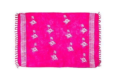 MANUMAR Damen Pareo blickdicht, Sarong Strandtuch in pink mit Hibiscus Blüten Motiv, XXL Übergröße 225x115cm, Handtuch Sommer Kleid im Hippie Look, Sauna Hamam Lunghi Bikini Strandkleid (Kleid Pink Frau)