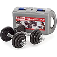 York Fitness Cast Iron Dumbbell Spinlock Set with Case (Pack of 2) - Black, 20 Kg