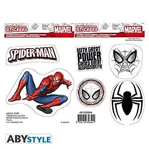 ABYstyle Abysse Corp_ABYDCO436 - Pegatinas de Marvel (16 x 11 cm, 2 Hojas), diseño de Spiderman X5
